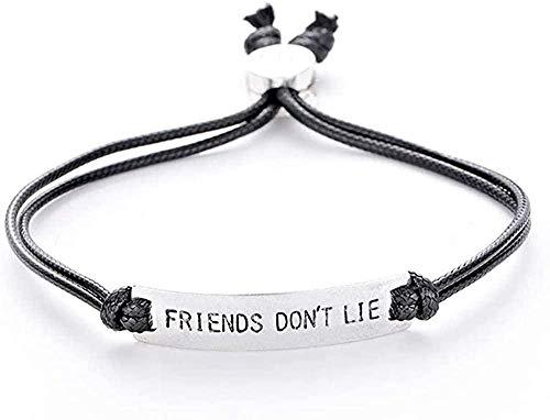 Yiffshunl Collar Friend Not Lies Elf Charm Bracelet Letters Hombres Bar Brazalete Pulsera de Cadena para Mujeres Stranger Things Movie Jewelry