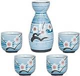Set De Sake, 5 Piezas De Sake, Conjunto De Copas De Vino De Estilo Japonés, Recipiente De Sake con Flores De Ciruelo Pintadas A Mano, Un Frasco De Cuatro Tazas