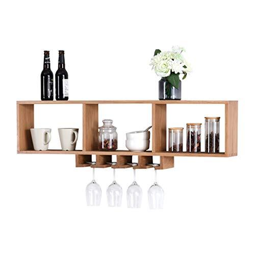 LDG Nordic wandrek, eiken wijnfles hangend kelk zwevende plank decoratie, wandrek draagvermogen 70 kg