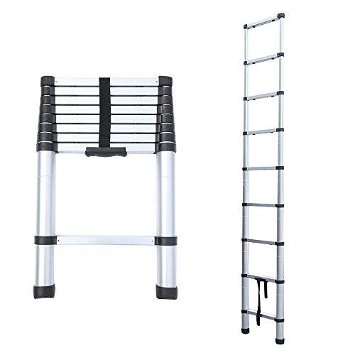 Blackpoolal Escalera Telescópica Aluminio – Escalera Extensible Escalera Escalera Multiusos (2,6 M – 4.4 M (8.5Ft – 14.5 Ft) 150 Kg Resistencia (Plata)