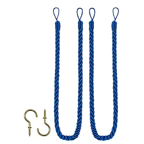 Rope Tie Backs, Home Office Windows Drapery Fasteners Fringe Ropes for Window Curtain, Hand Knitting Buckle Cord Drapery Holdbacks, Set of 2, Navy