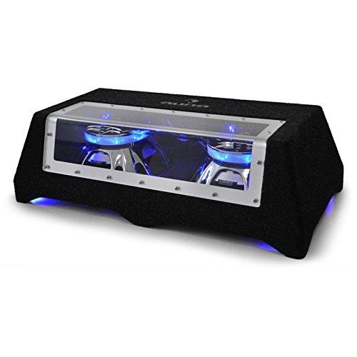 auna CB250-50 - Auto-Subwoofer, passiver Subwoofer, Doppel-Subwoofer, 2 x 600 Watt max. 2 x 10-Tieftöner, 2 x 2-Schwingspule, LED-Lichteffekt, schwarz