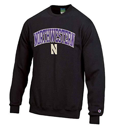 Champion Erwachsene Tackle Twill Crewneck – Offiziell lizenziertes Unisex NCAA Team Sweatshirt, Unisex-Erwachsene, Northwestern Wildcats - Schwarz, Small