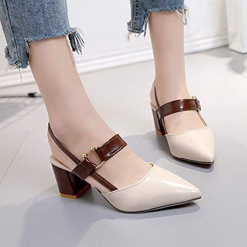 HOESCZS Talons Hauts Summer New Pointed Belt Thick with talons hauts Fashion Sandals femmes