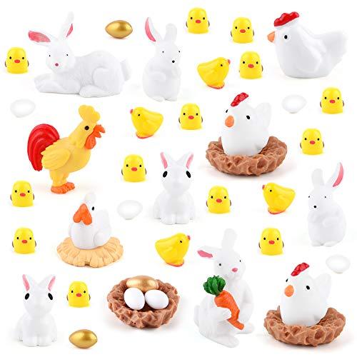 TUPARKA 40Pcs Animali in Miniatura Figurine, Figurine in Miniatura di Coniglio di Pasqua, Figurine di Pollo, Gallo, Gallina, Uova, Ornamenti per nidi di Pollo per Fairy Garden Cake Cupcake Toppers