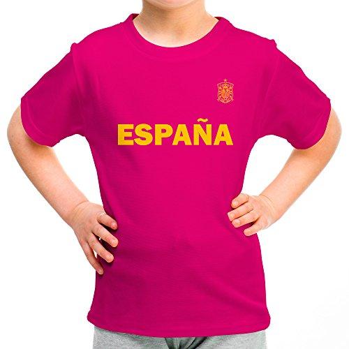 Lolapix Camiseta España Rosa Personalizada con Nombre y número. Camiseta de algodón. Regalo para niña. Varios diseños y Tallas. Fútbol