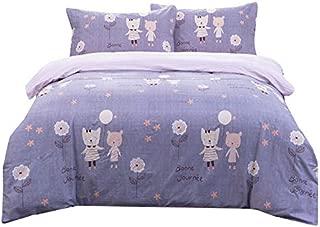 Senmiya Kids Duvet Cover Set Kitt Bedding Set 100 Percent Cotton Duvet Cover Twin XL + 2 Pillow Shams, Bunk Bed Girls Comforter Set Lightweight Down Comforter Cover