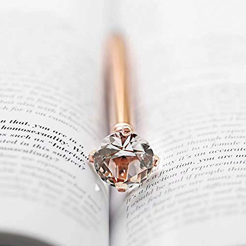 3 Pcs Diamond Pens With Big Crystal Bling Metal Ballpoint Pen, Fancy Office School Supplies, Rose Gold/White With Rose Polka Dot/Silver, Includes 3 Pen Refills(Black Ink) Photo #7