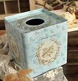 Caja de tejido Decoración de 1 PCS Estilo pastoral Caja de tejido cuadrado Caja de hojalata Caja de inodoro Detalle extraíble Titular de papel Accesorios de decoración de mesa, igual que el dispensado