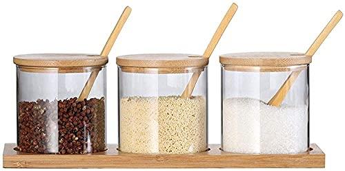 durable 3 Piece Glass Spice Jars Set - Bamboo Lids Serving Spoons &amp Non Slip Base - Heat Resistant Condiment Cruet Bottle Seasoning Box Kitchen Supplies Salt Shaker Seasoning Seasoning Jar