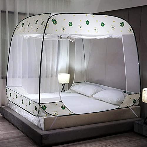 Mosquitera plegable portátil plegable para cama con 3 aberturas, con parte inferior completa para el hogar, dormitorio, camping, viajes, 1,5 m
