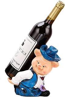 QWEA Casier à vin, Porte-Bouteille de vin en Sculpture et Statue d'animaux rustiques Supports à vin Chapeau tordu Décorati...