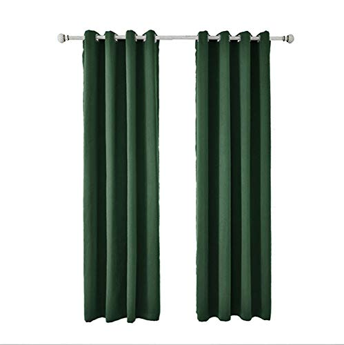 MBUHJ Cortina Opaca - Cortinas Aislantes Térmicas - Paneles con Ojales, Cortinas Opacas para Ventanas de Salón y Cocina, 2 Paneles (Dark Green,42''x63''?107x 160cm?)