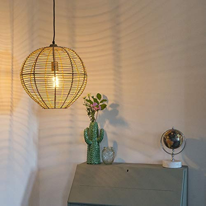 QAZQA Landhaus Vintage Rustikal Lndliche runde Pendelleuchte Pendellampe Hngelampe Lampe Leuchte 40 cm Rattan mit Messingdetails - Ball Rattan Innenbeleuchtung Wohnzimmerlampe Schl