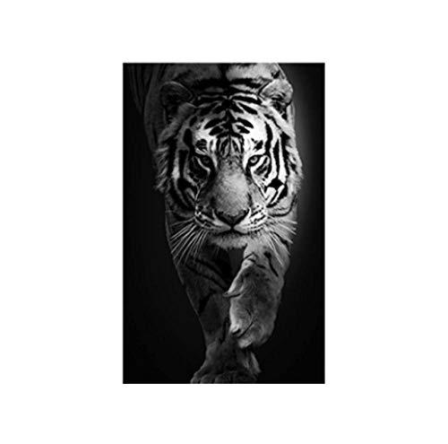 Jwqing Schwarz Und Weiß Tier Tiger kunstdrucke Wandkunst Bilder Leinwand Malerei Abstrakte Leinwand Poster Malerei Wohnkultur (60x80 cm kein Rahmen)