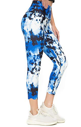 Kcutteyg Yoga Pants for Women with Inner Pocket High Waisted Leggings Workout Sports Running Athletic Pants (Capri Tie Dye Blue, X-Small)