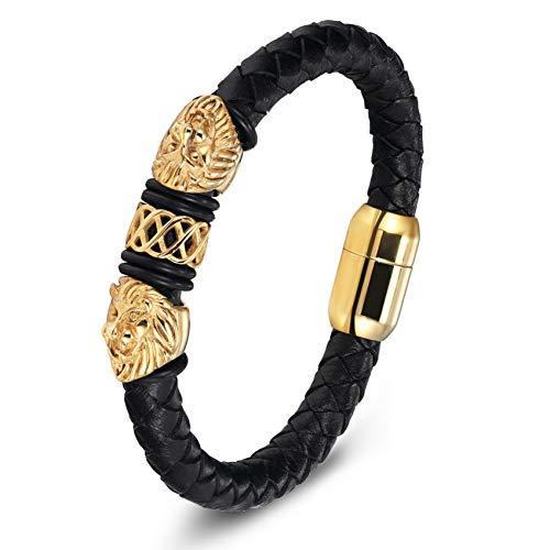 WXYBF Heren armband Goud Leer RVS Mannen Sieraden Mode Bedel Lederen Armband
