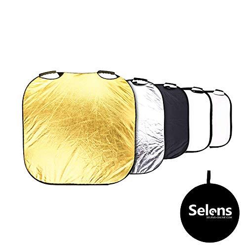 Selens 5-in-1 vierkante reflector, draagbaar, voor fotografie, fotostudio, verlichting en buitenverlichting, 80 cm