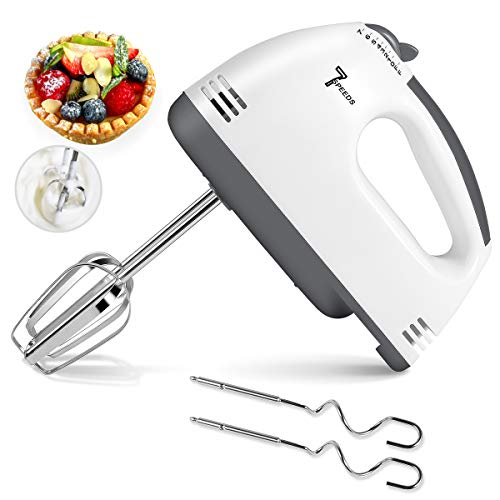 Hand Mixer Electric, 7 Speed Portable Mixer, 2021 Upgrade Kitchen Blender, Stainless Steel Egg Whisk with Beaters, Dough Hooks and Egg Separator for Cake, Baking & Cooking
