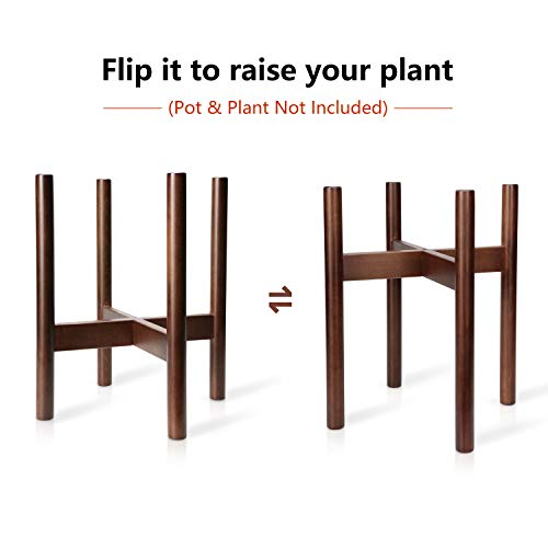 Mkono Plant Stand Mid Century Wood Flower Pot Holder Indoor (Pot NOT Included) Potted Rack Modern Home Decor, Up to 10 Inch Planter, Dark Brown
