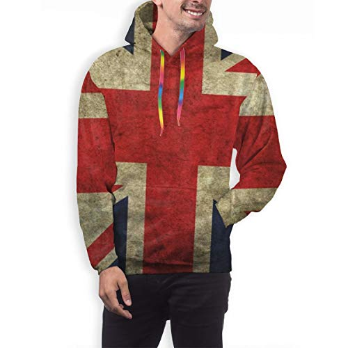 Novelty Hoodies with Big Pockets for Men, Vintage UK British Flag Drawstring Pullover Hooded Sweatshirts for Cycling, Camping, Date, Slim Tracksuits