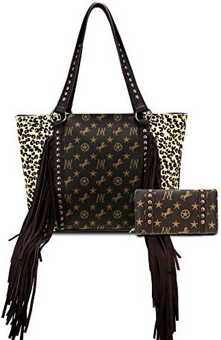 Montana West Leather Cowhide Tote Bag For Women Western Fringe Handbag Shoulder Bag With Matching product image