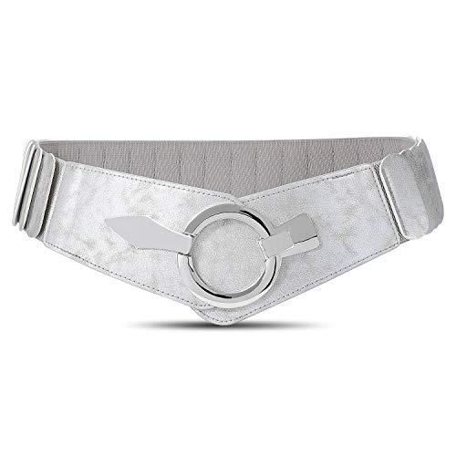 JasGood Damen Breiter Elastischer Taillengürtel, Mode Vintage Hüftgürtel mit Silberner Ring-Schließe, Silber, XL
