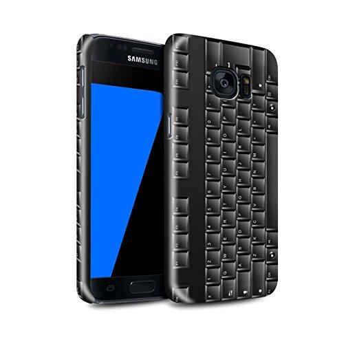 Telefoonhoesje voor Samsung Galaxy S7/G930 toetsen/knoppen PC toetsenbord/zwart ontwerp glanzende harde drukknop op cover