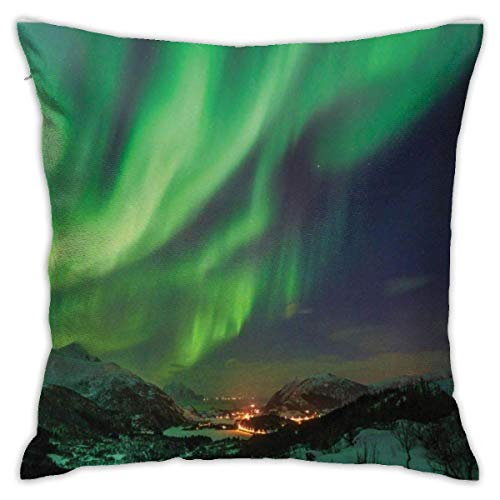Babydo Cushion Case Norway Aurora Borealis Nordic Green Tones Night Sky And Town Panoramalime Green And Dark Lavender Throw Pillow Covers Throw Pillow Cases Unique Soft Car Decorative Be
