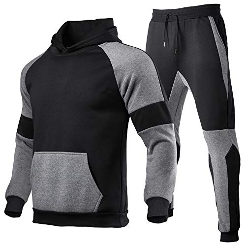 Mens Outfits Tracksuit 2pcs Set Sweatsuits Hoodie Patchwork Jogger Sweatpants Winter T-Shirts Shorts Sports Suits (Black, 2XL)