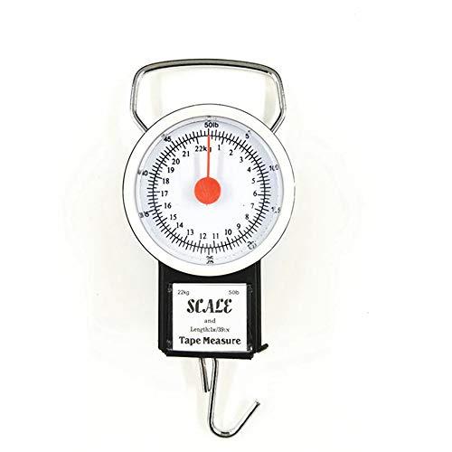 WHK Báscula de Gancho para Colgar Peso, báscula de Equipaje portátil con Mini dial de 22 kg, báscula de pesaje de Gancho de Cocina multifunción