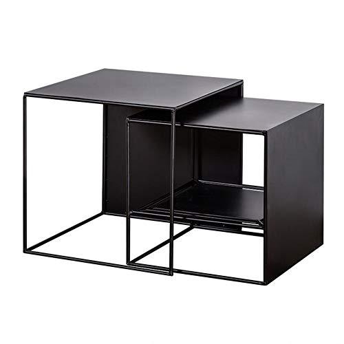 Jcnfa-Tische Nesting Coffee Accent Tisch, Winkelmaß Tisch, Wohnzimmer-Möbel, Set W / 2 Ende Tabellen - Schwarz (Color : Black, Size : 2 Piece Set)