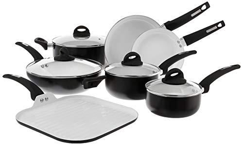 Oster Cocina 107307.11 Herstal Juego de utensilios de cocina de aluminio, interior de cerámica, exterior negro, acero inoxidable, 11 piezas