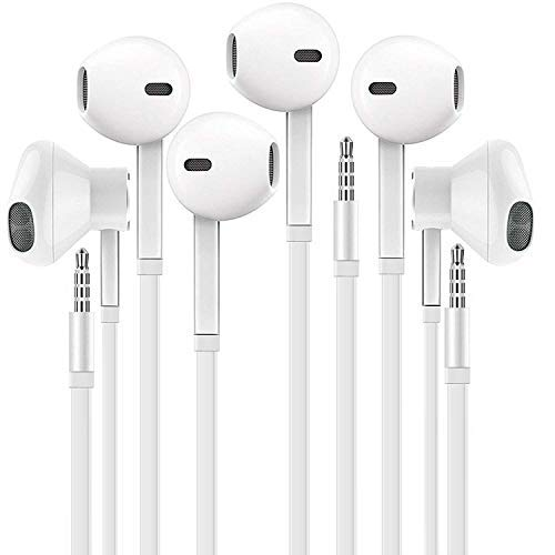 Headphones with Microphone, Certified in-Ear 3.5mm Noise Cancelling Sport Stereo Earphones Headset for Laptop Tablet Android Smartphones (White) 3 Pack