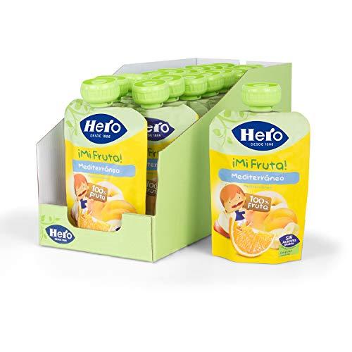 Hero Baby - Mi Fruta - Bolsita de Fruta sabor Mediterráneo, Sin Azúcares Añadidos, para Bebés a Partir de los 12 Meses - Pack de 18 x 100 g