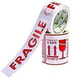 Conjunto de 100 etiquetas frágile calcomanías de tamaño grande de 10 x 10 centímetros más un (1) rollo de cinta de baja resonancia frágiles cinta de 50mm x 66mm para paquetes de embalaje.