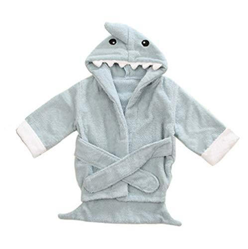 (lunar.maria) ブルー バスローブ フード付き バスタオル おくるみ ベビー 子供用 出産祝い 贈り物 ギフト (ブルー, 1?12ヶ月)