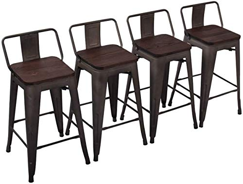 Yongchuang Metal Counter Height Bar Stools for Indoor-Outdoor Barstools Set of 4 Wood Top Low Back 26' Rusty