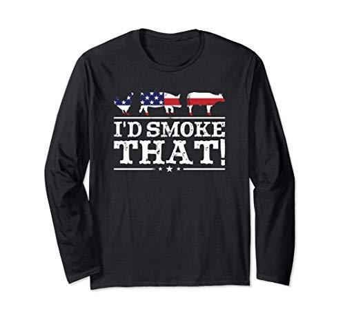 面白いBBQシャツ 「私はその肉を燻製するよ!」ピットマスター グリル ギフト 長袖Tシャツ