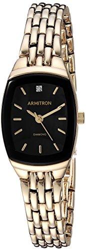 Armitron Women's 75/5195BKGP Diamond Accented Black Dial Gold-Tone Bracelet Watch