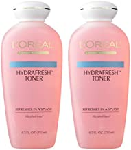 Face Toner, L'Oreal Paris Skincare HydraFresh Toner for Face, Alcohol Free Toner with Pro-Vitamin B5 for a Smoother, Brighter Complexion, 2 Count
