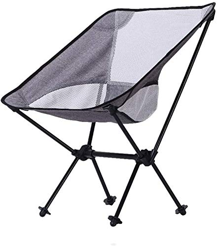 HOMRanger Camping Stuhl Outdoor Klappstuhl, Tragbar, Aluminiumlegierung, Wanderer Strand Angeln Camping Sketch Sitz/Hellgrau Weiß Netto/Maximale Belastung 150KG