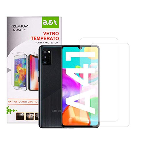 A&T Tempered Glass for Samsung Galaxy A41 Anti-scratch Screen Protector Bubble-free Easy to open 2 pieces + 1 Transparent Anti-Skid Soft Washable Cover that Protects from Drops