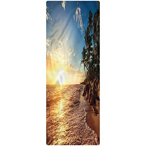 Tropical Kitchen Mat, 2'x4', Palm Trees on Beach Kitchen Rugs Non Skid Area Floor Mat for Hallway Entry Way Floor Carpet