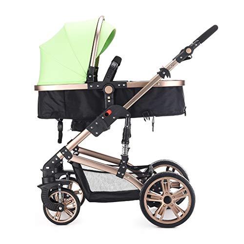 HHGO 3-in-1 kinderwagen, licht opvouwbare kinderwagen, vergrote opbergmand, meervoudig verstelbare parasol, universeel voor vier seizoenen, slaapmand kan worden omgedraaid