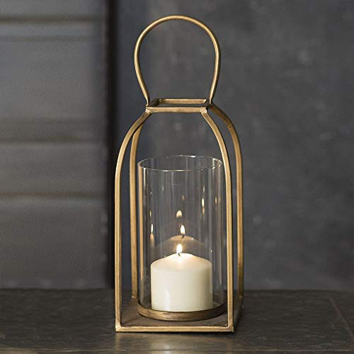 Attractive and Graceful Large Tribeca Gold - Antique Brass Metal Lantern Candle Holder with Clear Glass, Rustic Indoor / Outdoor Light for Your Home Decor - Modern Rustic Vintage Farmhouse Style