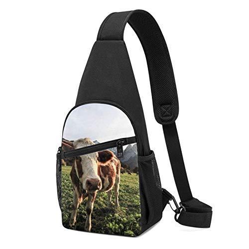 DJNGN Mochila con honda, vacas de pasto, bolsa con honda, bandolera, bandolera, viaje, senderismo, bolsa de pecho, mochila