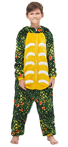 Silver Basic Niñas Niños Fleece One Piece Animal Pijamas Unicorn Tiger Disfraz de Fiesta de Halloween para Niños XL,Dragón Verde-5