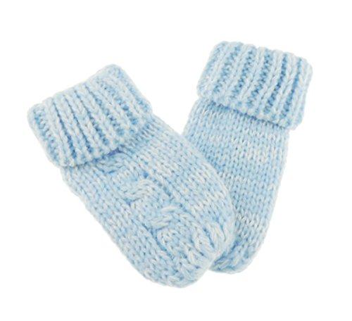 Glamour Girlz Moufles d'hiver en tricot fin pour bébé fille garçon Couleur unie Bleu
