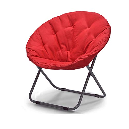 KKLL Großer Erwachsener Mond-Stuhl Sun-Stuhl-fauler Stuhl Klappbarer übergroßer Moon Saucer Chair (Color : Red (Canvas))